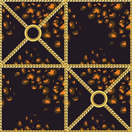 Motif peau de léopard avec chaînes dorées. Impression de design de luxe pour tissu sur fond noir. - Vecteur