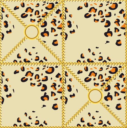 Leopard skin pattern with golden chains. Luxury design print for fabric. - Vector