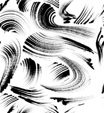 Seamless grunge splash pattern, brush strokes background, watercolor ink. - illustration