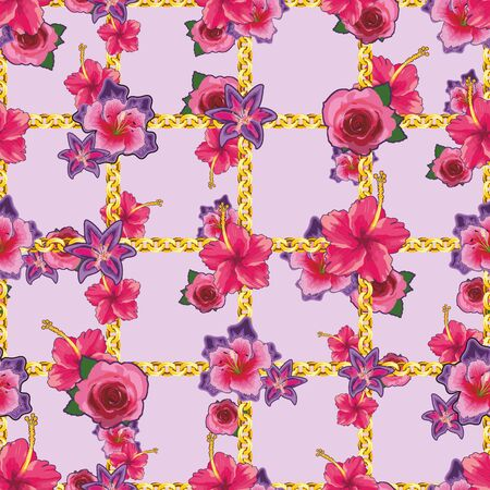 Pink rose and lily floral pattern with golden chains. - vector