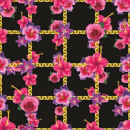 Pink rose and lily floral pattern with golden chains on black background. - vector Zdjęcie Seryjne