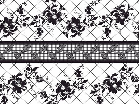 Seamless Black Vector Lace Pattern with flowers on ywhite background.Rounds, circle. Illustration