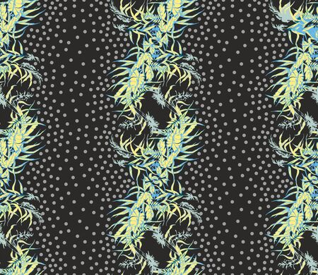 Seamless ivy pattern. Vector yellow flowers background.Floral print for textile fabric.Little rounds.