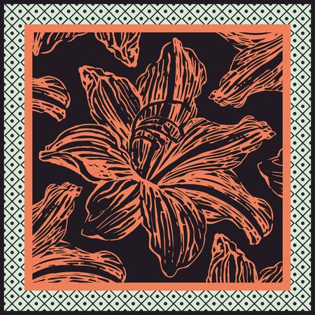 Hand drawn floral pattern. Orange flower isolated on black background. - vector