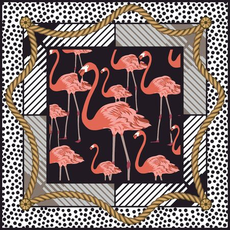 Hand drawn flamingo in frame. Rope with geometric figures. Shawl, bandanna, kerchief, silk, scarf print. Fashion background for fabric. - vector