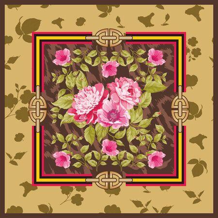 Colorful flowers background, Shawl, bandana, scarf, kerchief digital print, Fabric design. Woman fashion. Ornamental. - Vector