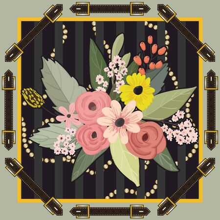 Ornamental belt pattern. Colorful flowers background, Shawl, bandanna, scarf, kerchief digital print, Fabric design. Woman fashion. - Vector Imagens - 135093705