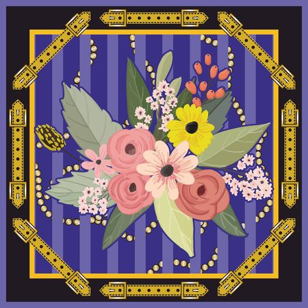 Ornamental belt pattern. Colorful flowers background, Shawl, bandanna, scarf, kerchief digital print, Fabric design. Woman fashion. - Vector Imagens - 135093722