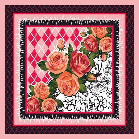 Colorful flowers background, Shawl, bandanna, scarf, kerchief digital print, Fabric design. Woman fashion. Ornamental. - Vector Imagens - 135093704