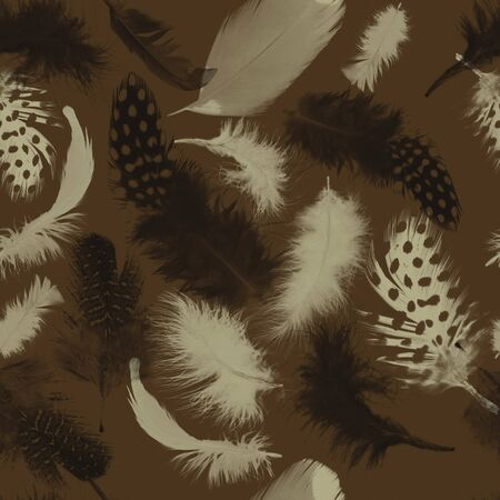 Feathers pattern.Seamless animal texture. Natural background. - illustration