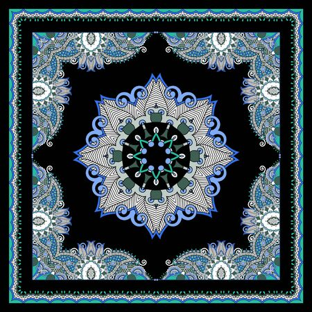 Ornamental paisley pattern for kerchief, bandana, shawl, scarf. Colorful geometric background. Textile digital print for fabric.Traditional, ethnic element. - vector Stockfoto