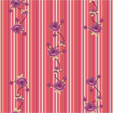 Vector purple roses on colorful stripes background. Floral seamless pattern. Textil digital print. Fabric design. - Vector Illustration