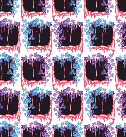 Blue and purple little flowers on black frames. Floral seamless pattern for fabric or paper print. - vector