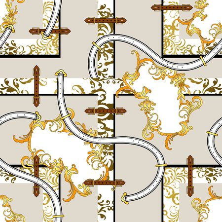 Gold baroque pattern with floral pattern, belts. Geometric background. Seamless paisley print for fabric. Fashion elements. Textile figures. - illustration