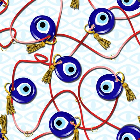 Seamless Turkish traditional amulet pattern, evil eye, blue eye symbol, ribbon, chain, tassel, ethnic background. - Illustration