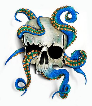 Hand drawn skull, octopus illustration.T-shirt print.Colorful tattoo design.Digital painting