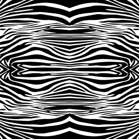 Zebra seamless texture, animal skin background, black wildlife pattern. - Illustration