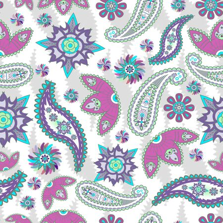 Colorful paisley pattern on white background. Floral print for fabric. - illustration