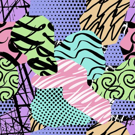 Seamless geometrical background. Chaotic pattern. Multicolor figures. - illustration