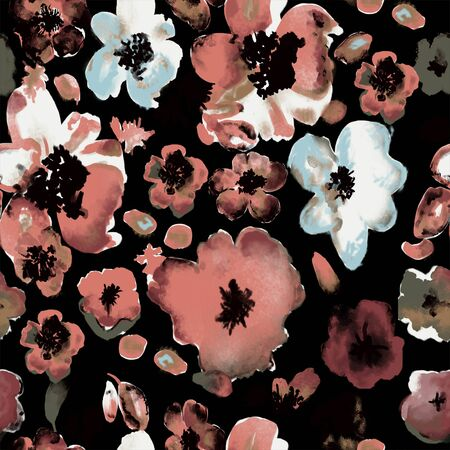 Watercolor flowers pattern on black background. Seamless floral print for fabric. Fashionable design. - Illustration