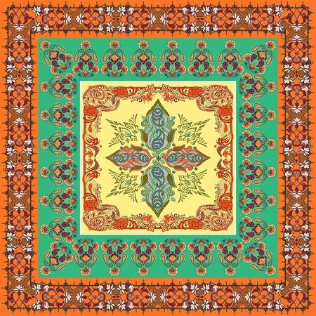 Ornamental, ethnic pattern. Scarf, shawl, bandanna, kerchief, silk print. Fashion fabric design. Textile figures. Geometric background. - illustration Zdjęcie Seryjne