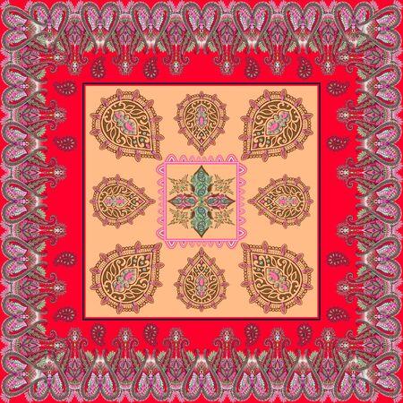 Ornamental, ethnic pattern. Scarf, shawl, bandanna, kerchief, silk print. Fashion fabric design. Textile figures. Geometric background. - illustrationKeywords language: English