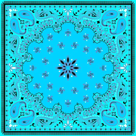 Ornament paisley seamless Bandana Print, silk neck scarf or kerchief square pattern design for print on fabric. - illustration
