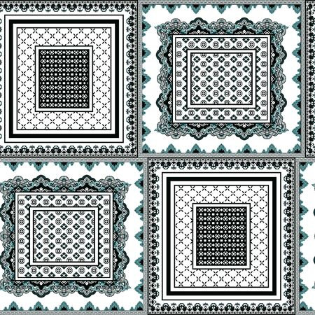 Bandanna, scarf, shawl, kerchief, silk print for fashion, Textile figures, Traditional, ethnic, ornamental geometric pattern with frames. - illustration