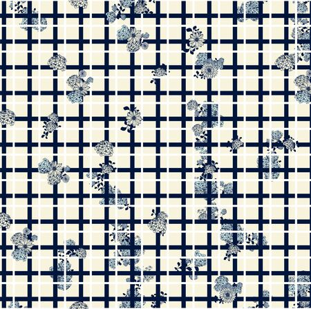 Little cute flowers pattern with geometric shapes. Squares. Floral background. - illustration Zdjęcie Seryjne
