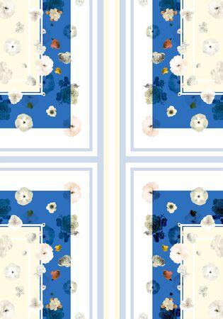 Cute flowers with symmetric geometric pattern.Colorful frames background. Fashion design for fabric. - illustration Zdjęcie Seryjne