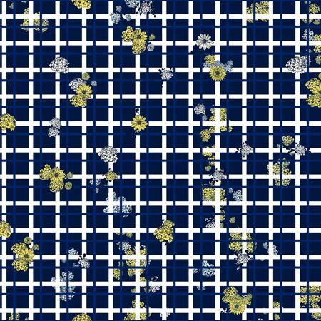 Flowers fashion pattern with geometric squares. Floral background. - illustration Zdjęcie Seryjne