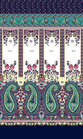 Traditional Paisley Floral Pattern for Fabric print. Textile fashion design. Oriental, ethnic, folk geometric background. - Illustration