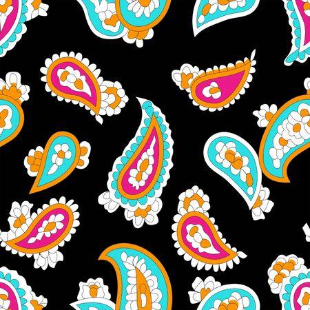 Colorful paisley pattern. Seamless oriental background.Traditional, ethnic print on black background. - Illustration Zdjęcie Seryjne
