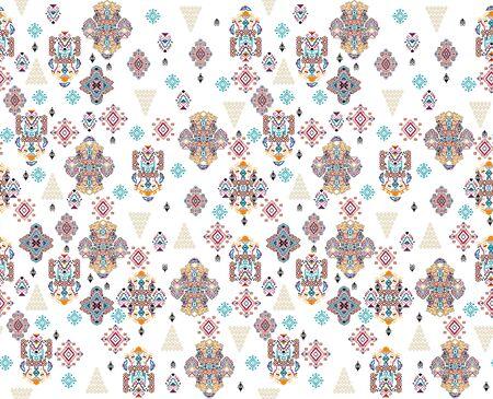 image description Seamless ornamental pattern, Ethnic design, Traditional fabric print, Scarf, Shawl, Bandana, Lace, kerchief, silk background. - Illustration Zdjęcie Seryjne