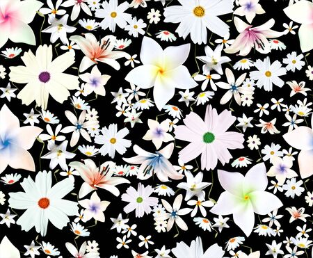 Colorful blooming flowers botanical floral and leaves pattern, seamless fabric print on black background. - Illustration