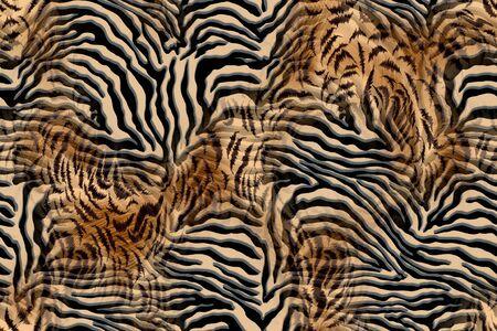 Zebra - leo mix pattern, Animal skin print.Fur texture. - Illustration
