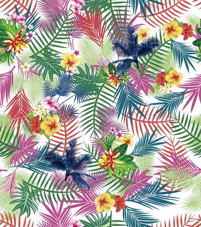Colorful palm leaves pattern on white background. Seamless floral background. - illustration