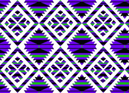 Abstract Tribal pattern.Traditional, ornamental, ethnic geometric background. Seamless colorful shapes. - Illustration Zdjęcie Seryjne