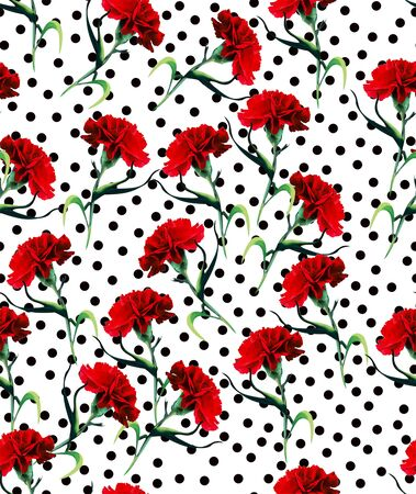 Seamless pattern with polka dots. dianthus Fabric print. red flowers. - Illustration