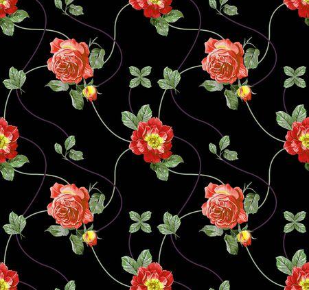 Red roses seamless pattern on black background. - illustration