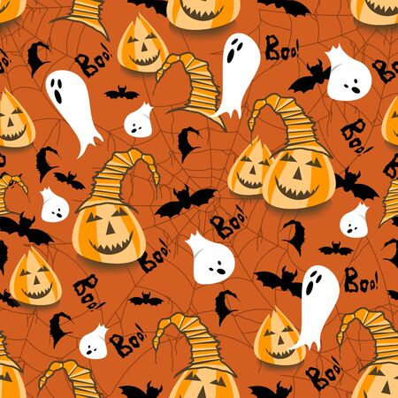 Halloween theme seamless pattern. Carnival background. Holiday. Pumpkins, ghosts, spider web, bats. - Illustration Zdjęcie Seryjne