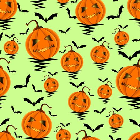 Seamless Halloween Pattern with Pumpkins and Bats background. - Illustration