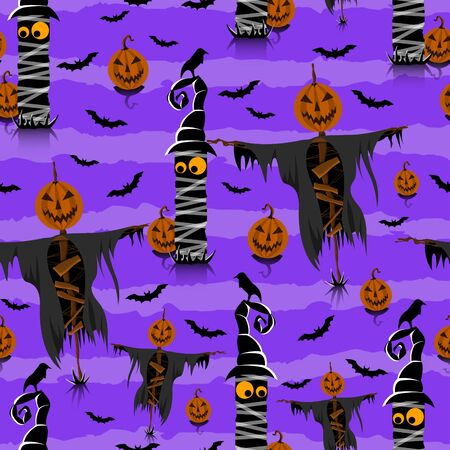 Seamless Halloween Pattern with Pumpkins and Bats on purple background. Scarecrow. - Illustration Zdjęcie Seryjne