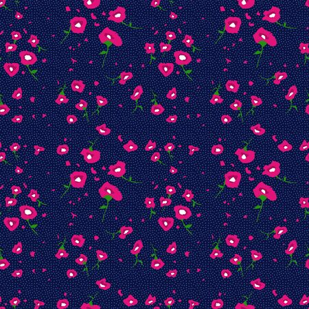 Cute colorful flowers on dotted background. Seamless floral print of fabric. Fashion design. - illustration