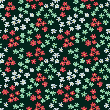 Cute flowers on black background. Seamless floral background. Textile elements. Fabric print effect. - illustration