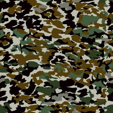 Camouflage seamless pattern, military backgound, fabric textile print. - Illustration