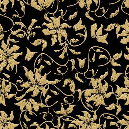 Gold floral pattern on black background. Seamless yellow flowers. - illustration Zdjęcie Seryjne
