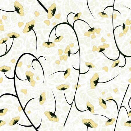 Yellow seamless floral pattern. - Illustration. Zdjęcie Seryjne