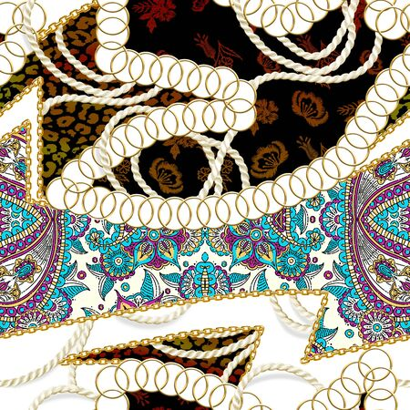 Seamless gold chains, flowers, leopard skin texture, rope, ethnic pattern for textile. Fabric print. Fashion design. - illustration Zdjęcie Seryjne