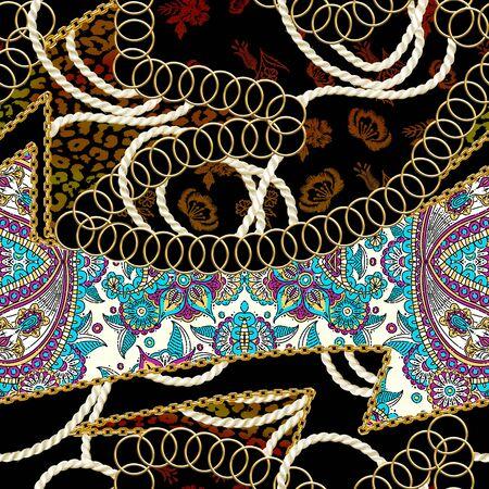 Seamless gold chains, flowers, leopard skin texture, rope, ethnic pattern on black background. Fabric print. Fashion design. - illustration Zdjęcie Seryjne